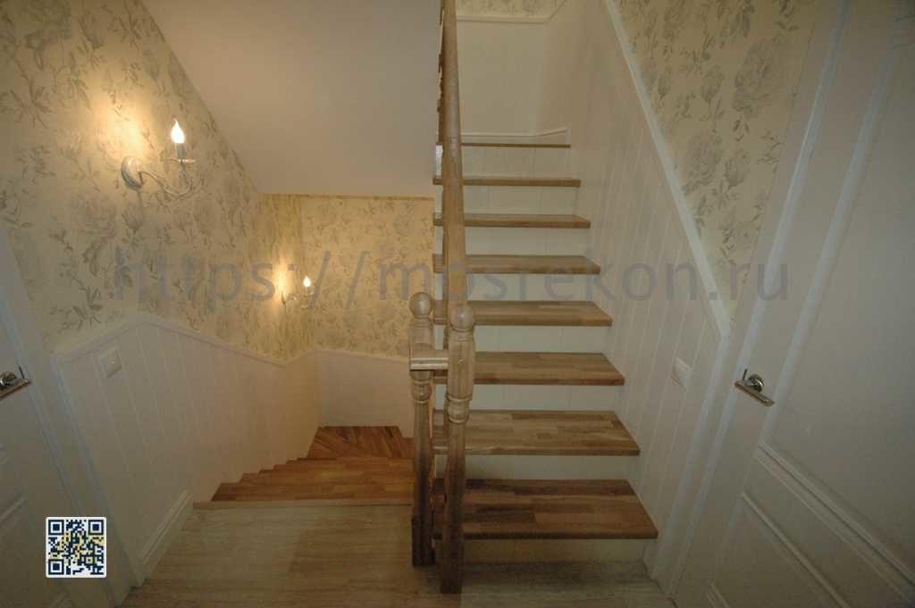 Лестница с подступенками из плитки