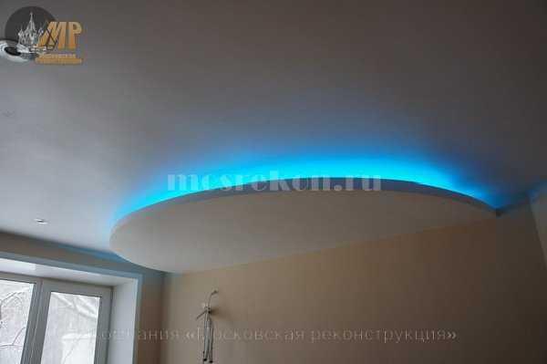 Двух уровневый потолок с подсветкой фото