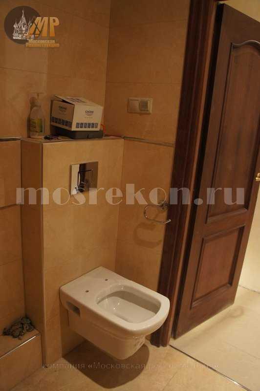 Ремонт в ванной комнаты с подвестным унитазом