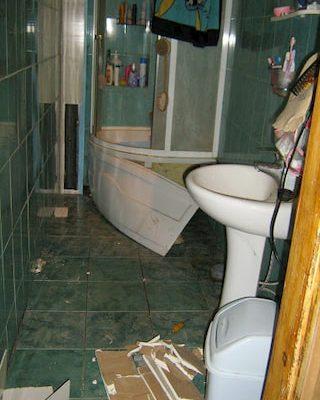 Фото аварийной ванной комнаты